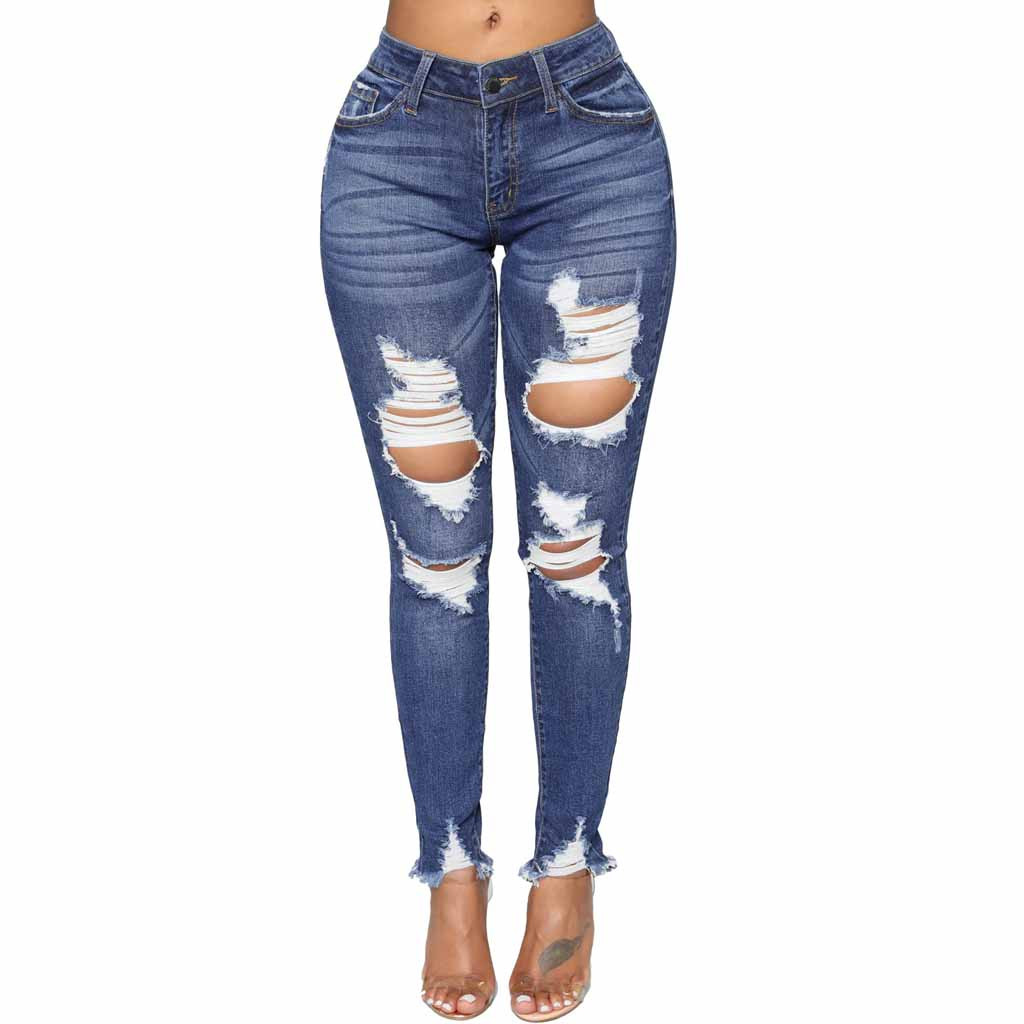 Chamsgend 2019 Summer Women Jeans Denim Fashion Sexy Female High Waist Hole Jeans Zipper Stretch Slim Pencil Pants Fe6 Bottoms