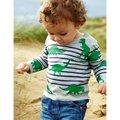 Camiseta de los muchachos Niños Camiseta de Los Muchachos de Bebé del Otoño del Resorte T Niños camisetas de Manga Larga 100% Algodón Coches Camiones Rayas Bebé ropa