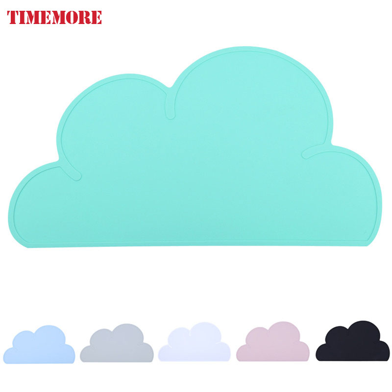 Hot 47 27cm Waterproof Silicone Placemat Bar Mat Baby Kids Cloud Shaped Plate Mat Table Mat
