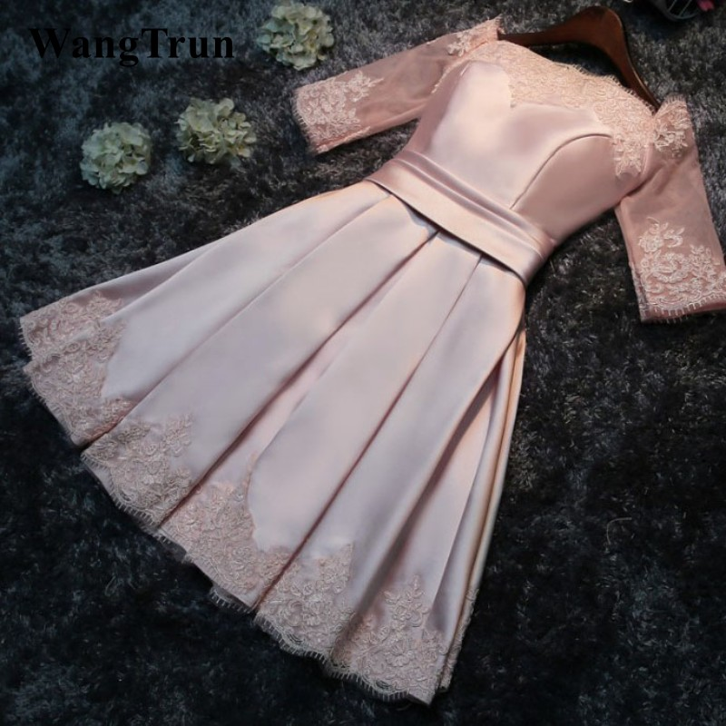 Robe De Soiree 2019 Boat Neck short A Line Banquet reflective   dress     Bridesmaid     dress   Lace Elegant Formal champange prom   dress