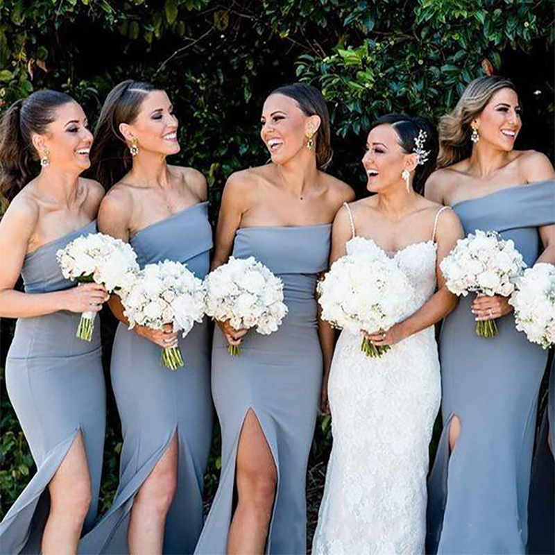 Dusty Blue Cheap Long Bridesmaid Dresses Strapless Satin Side Split Sheath Designer Country Bridesmaid Party Prom Dress