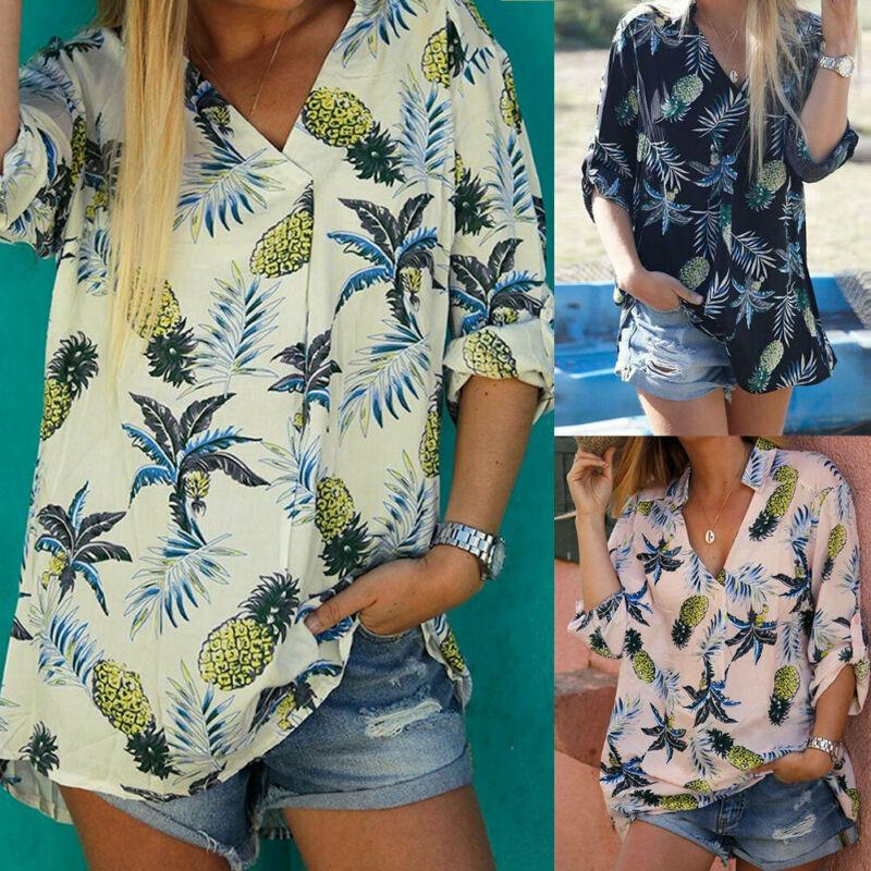Harajuku Summer New Sexy Hawaiian Beach Vacation Pineapple Printed Shirts Woman Wild Long-sleeved V Cut Collar Fruit Blouses