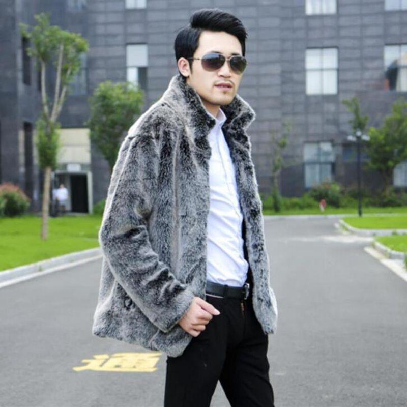 Hot sell 2018 new men winter fashion warm faux fur coat Light gray luxurious men mandarin collar fur jacket Casual fox fur coat in Faux Leather Coats from Men 39 s Clothing