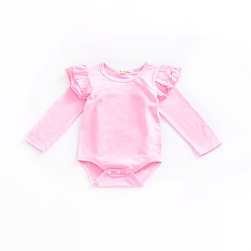 0 2 years baby girls romper flutter tee long sleeve clothes for kids cotton crotch with button children jumpsuit in Bodysuits from Mother Kids