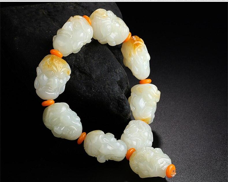 Hetian yu Luohan tête matériel de graine bracelet double face dominateur mâle yu transport perles blanc yu bracelet/