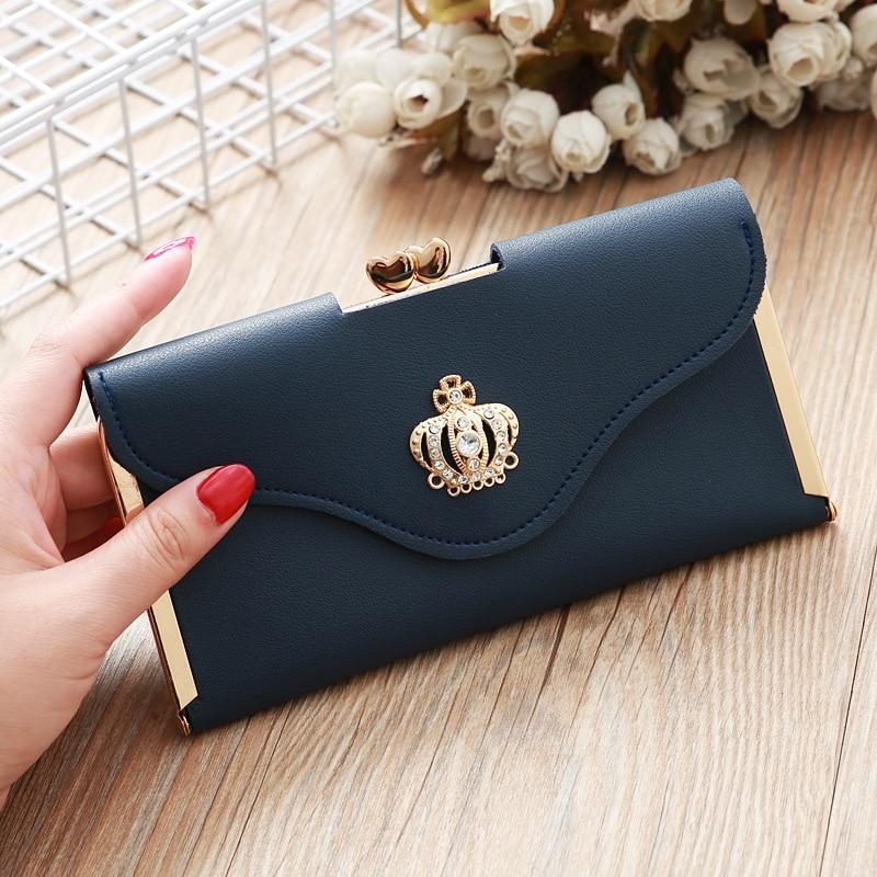 New Women Wallets Coin Pocket Leather Ladies Purse Diamond Crown Wallet Women Card Holder Evening Clutch Bag Portfel Damski W032
