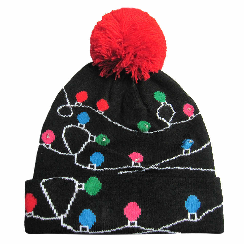 6fd25310f Merry Christmas women men adult caps 25 color LED Light-up Hat Knitted Ugly  Sweater Holiday Christmas party Cap hat