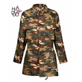 Spring Women Jackets Zipper Camouflage Army Green Loose Stand Neck Printed Military Vintage Casaco Feminino Casual Womens Coat