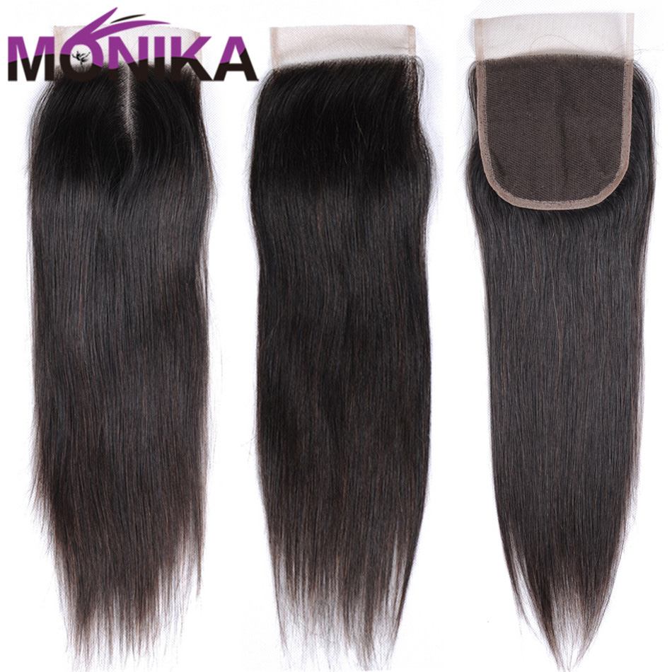 Monika Hair Brazilian Straight Hair Lace Closure Piece Free/Middle/Three Part Human Hair 4x4 inch Swiss Lace Top Closure Lace ...