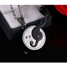 Music Design Couples Necklace Pendant for Lovers 316l Stainless Steel 2pcs/sets