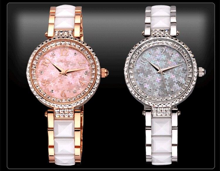 Pulseira de Cerâmica Relógio de Pulso Vogue Marca Melissa Feminino Relógios Brilhantes Cristais Vestido Quartzo Analógico Relógio Montre Femme F6595