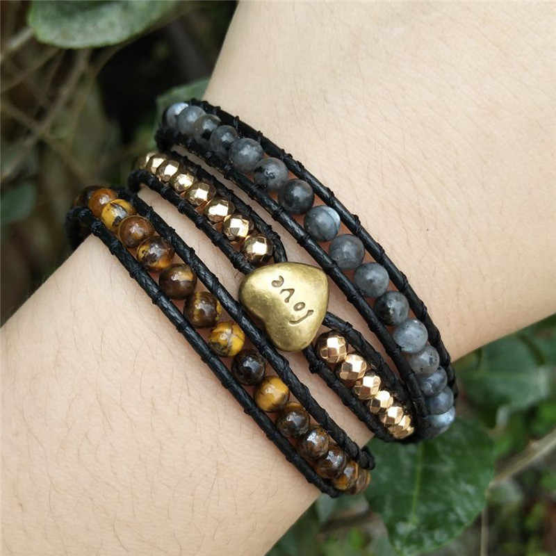 Love Bracelet Jewelry Handmade Wrap Bracelet Heart Natural Stone Bracelet Tiger Eye 3 Strands Leather Rope Woven Bracelet
