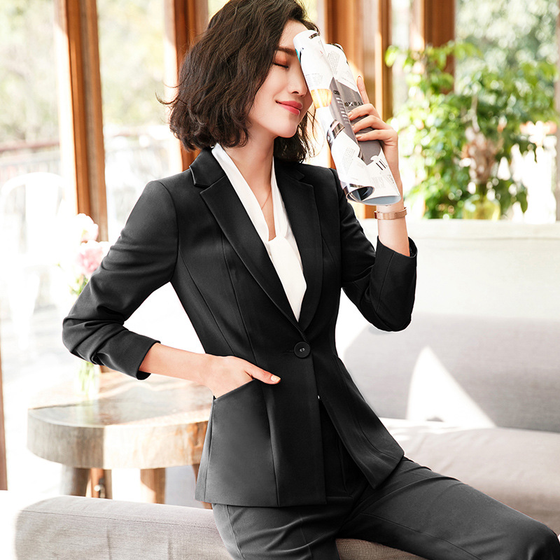 Women's Suit Set 2019 New Autumn Solid Color Long Sleeve Small West Slim Workwear Business Small Suit Pants Two-piece Set