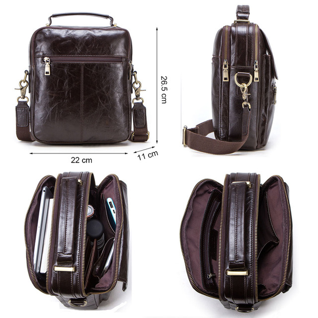 CONTACT'S new genuine leather messenger bag for men casual shoulder bags male flap bag luxury brand crossbody bags for 9.7 3