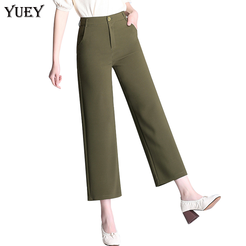 2019 New Women's Cropped   Pants   High Waist   Wide     Leg     Pants   Black Army Green Beige Straight Casual Summer   Pants   Plus Size S to 6XL
