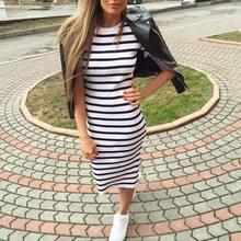 Casual Summer Women Dress Short Sleeve Round Neck Slim Fit Bodycon Dress Striped Side Split T Shirt Womens Dresses цена