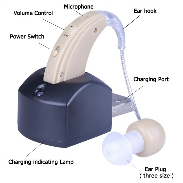 Analog Rechargeable BTE Ear Digital Hearing Aid Programmable S-109S Behind The Ear Sound Amplifier Adjustable for elder
