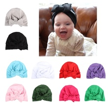 165296019af Baby Turban Hat with Bow Turbans for Kids Toddler Topknot Beanie Baby Girls  Gift(China