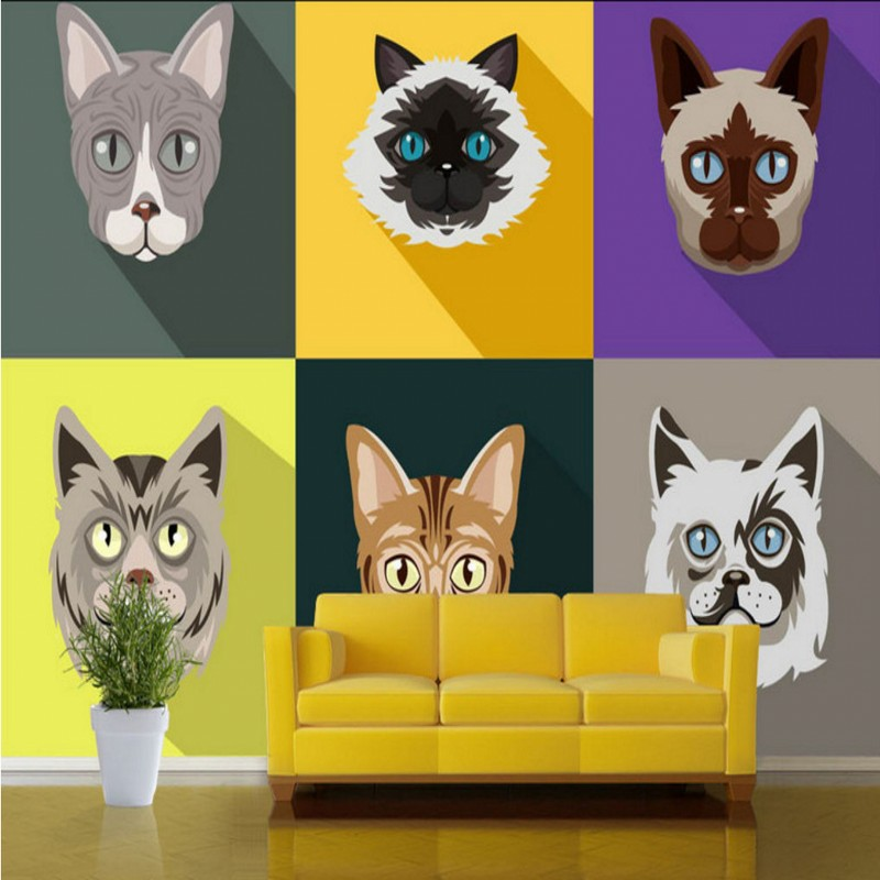 Free shipping Cute little cat TV backdrop decoration painting Studio Wallpaper restaurant custom bar bedroom mural free shipping retro female star mural background wall bathroom studio home decoration artistic studio bedroom wallpaper