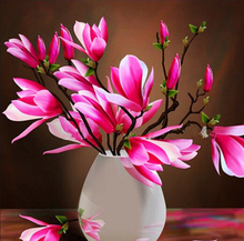 5D DIY Pink Magnolia Vase Diamond Painting Embroidery Flower Full Mosaic Home Decor Picture Crystal Stitch