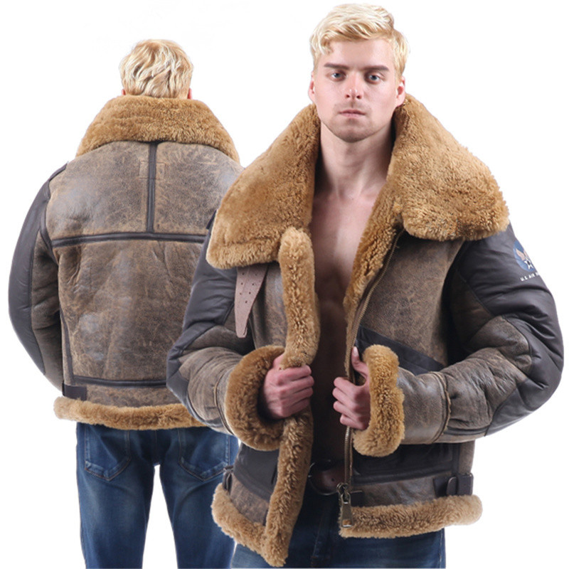 Männer Motorcyle Echte Lederjacke Pelzmantel Oberbekleidung Dick  Ursprüngliche Ökologie Schaffell Dünner Mantel Winter kaltbeweis Warme Jacke 1b5a10a405