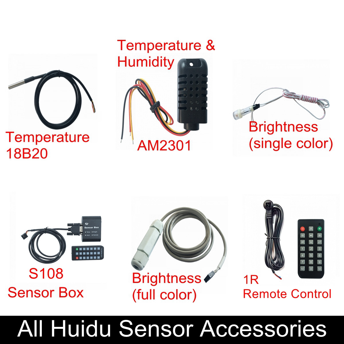 Huidu Sensors, Temperature 18B20,Temperature & Humidity Sensor AM2301,single/RGB Brightness Sensor, Sensor Box,1R Remote