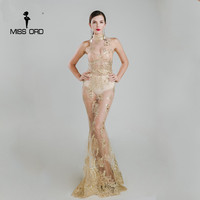 Missord 2016 Sexy O Neck Sleeveless Sequin Maxi Dress FT4918