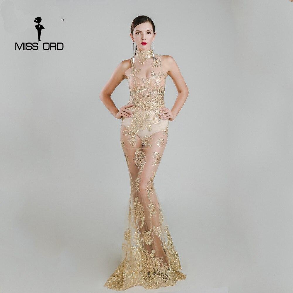 Missord  sexy o-cuello sin mangas bordado maxi dress ft4918
