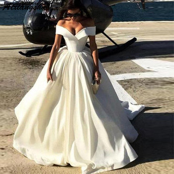 Off Shoulder Satin Wedding Dresses 2019 Lace Up Back Sweep Train A-Line Simple Bridal Gowns Robe De Mariee Plus Size Customized