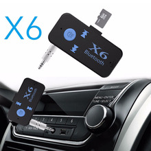 X6 Wireless Bluetooth Receiver 3.5mm Car Kit Support TF Card A2DP Audio Stereo Hands Free Music