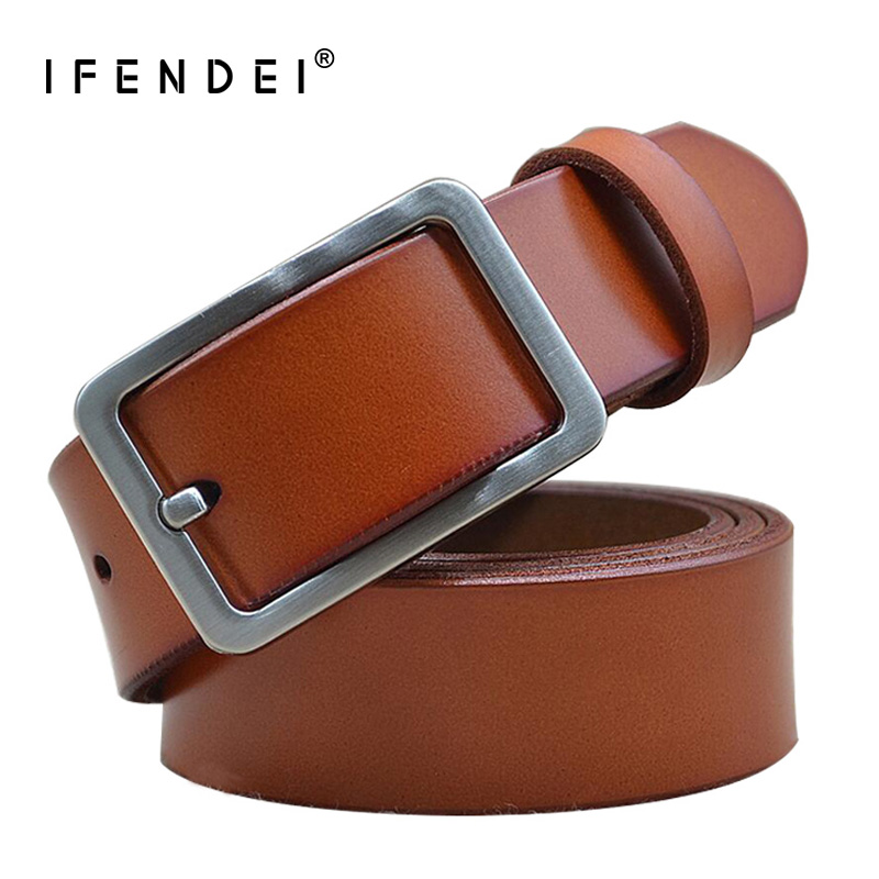 IFENDEI Genuine Leather Belts Men Women's Pin Buckle Waist Casual Black Brown Leather Belt Simple Strap 95cm ceinture homme