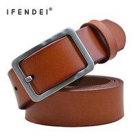 IFENDEI Genuine Leather Belt Male Female Wild Jeans Belts Men Casual Black Brown Leather Belt Women