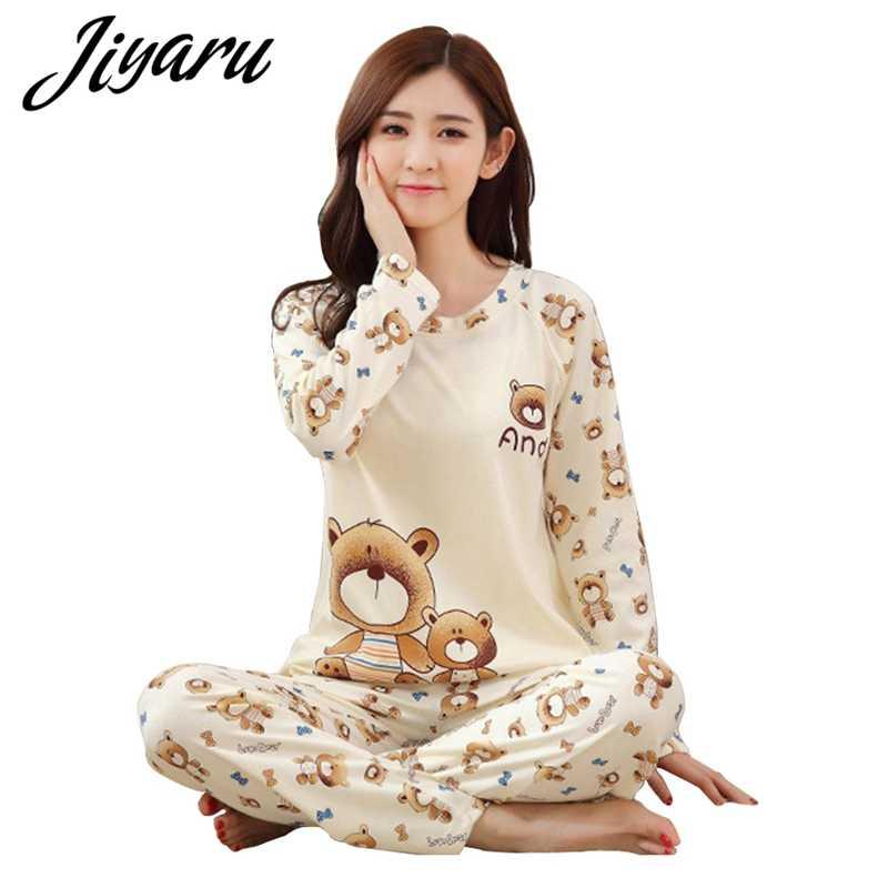 Милые Мультяшные женские пижамы наборы Осень-зима женские пижамы женские с  круглым вырезом пижамы женские 50ecc1aa21c31