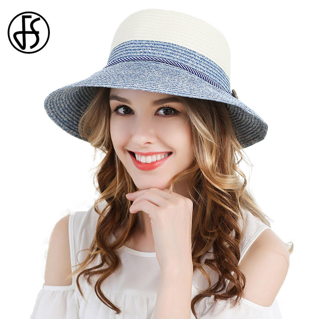 4bc993aa FS Ladies Wide Brim Foldable Sun Hat Womens Fashion Visor Blue Green Beach  Straw Hats Ribbon Summer Floppy Uv Protect Cloche Cap