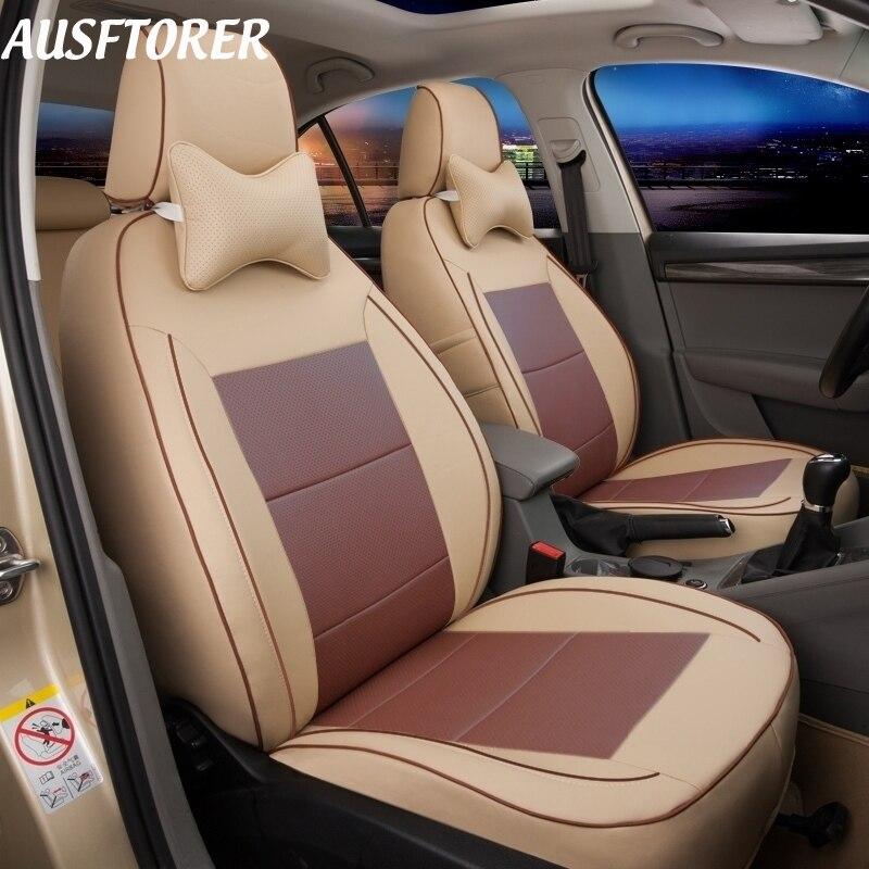 AUSFTORER cuir véritable perforé couvre siège pour Cadillac Escalade accessoires housse de siège voiture 7 sièges protecteurs 2007-2014