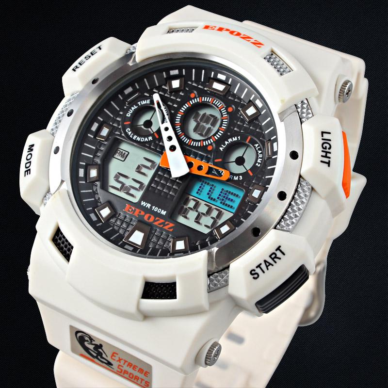 Prix pour Epozz LED montre numérique hommes garçons sport étanche 100 m De Natation Blanc Couleur Bracelet En Caoutchouc En Plein Air Montre-Bracelet Relogios Masculinos