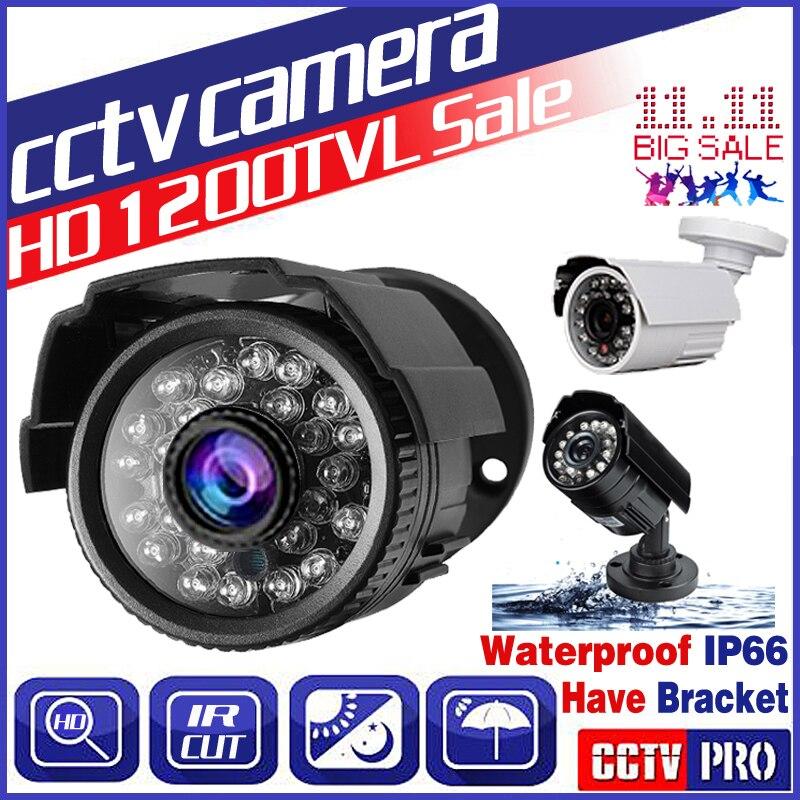 11.11 BigSale Real 24Led IP66 1200TVL HD Mini Câmera de Cctv Impermeável Ao Ar Livre IR Night Vision monitoramento Analógico segurança Vidicon