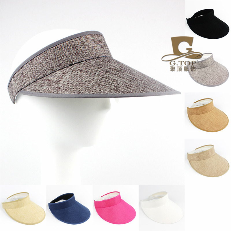 New Fashion Natural Linen Clip Men and Women Sun Visor Hat Outdoor Topless  Tennis Baseball Cap Summer Sun Hat Plastic Visor Hat 44ec9e3bd9f
