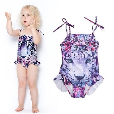 fce2e2c3808f8 Detail Feedback Questions about 2017 One Pieces Suits Baby Girls Bathing  Suits tiger Little Girl flower Cartoon Swimsuit Children Kids Cartoon  Swimwear ...