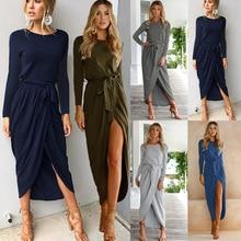 Women Full Sleeve Maxi Dress 2019 New Fashion Long Lace Shirt Dresses Open Slit Women Casual Dress все цены