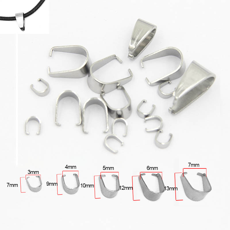 50pcs Stainless Steel Pendant Clip Connector Pinch Bail Clasp For DIY Jewelry Making Necklace Pendants Hook Accessories Supplier