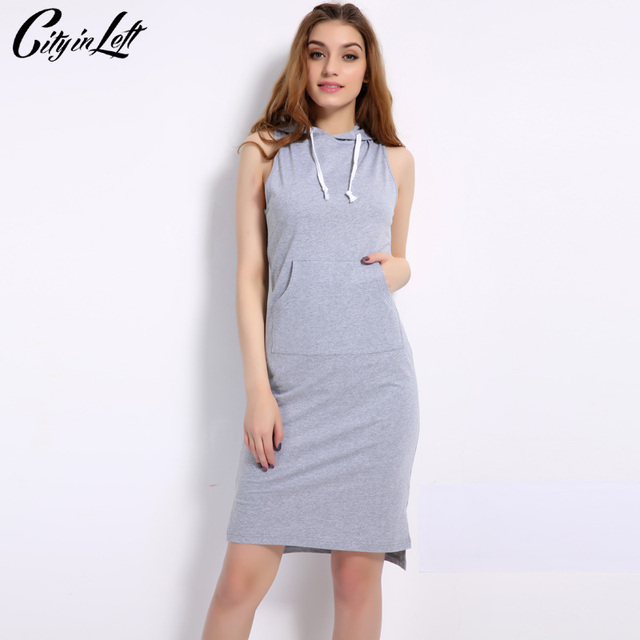 4a634c8415ba8c City Women Sleeveless Active Dress Black White Grey Solid Color Casual  Custom Hoodie Dress Sheath Summer Dress 2018 CIL1116
