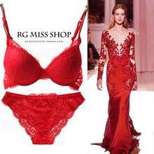 New 2017 Fashion Style romantic temptation embroidery Sexy Lace Bra Set  young women underwear set push up bra and panty set