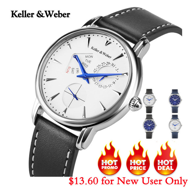 Keller & Weber Men's Watches Luxury Brand Famous Unique Designer Genuine Leather
