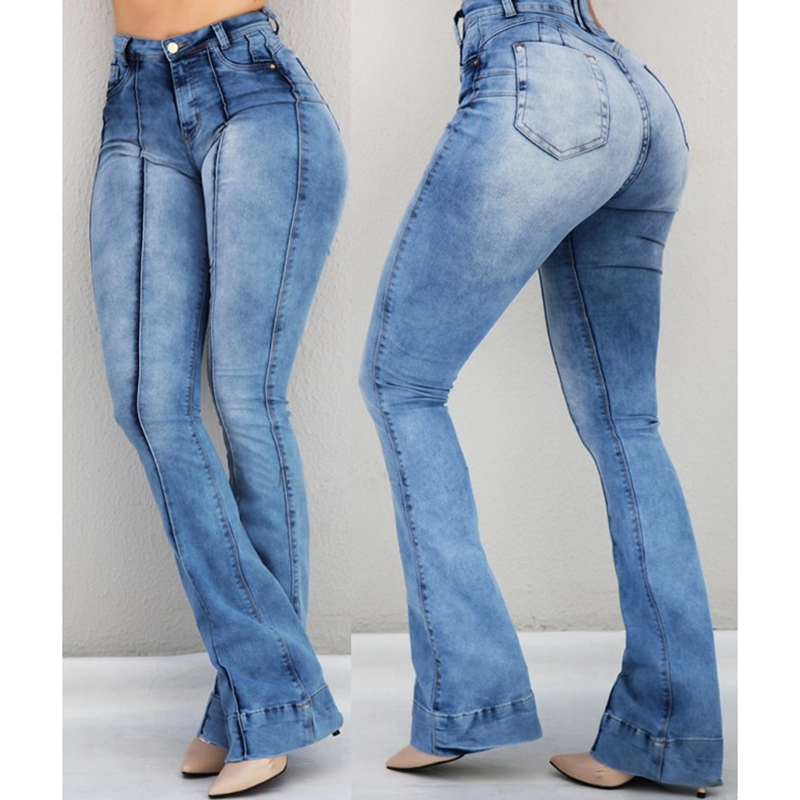 WENYUJH 2019 Women's Jeans Casual Slim Stretchy Denim  Waist Jeans Oversized Long Flare Pants Light Blue Trousers For Women(China)