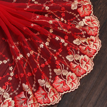 Hot 22cm/1yard Red Mesh Embroidery Lace Fabric Tissu Costura Mesh Tulle Guipure Cord Lace Sewing DIY Car Doll Accessories Skirt lace fabric 1yard lot high quality lace trim embroidery mesh lace ribbon tulle guipure cord lace sewing diy doll cloth