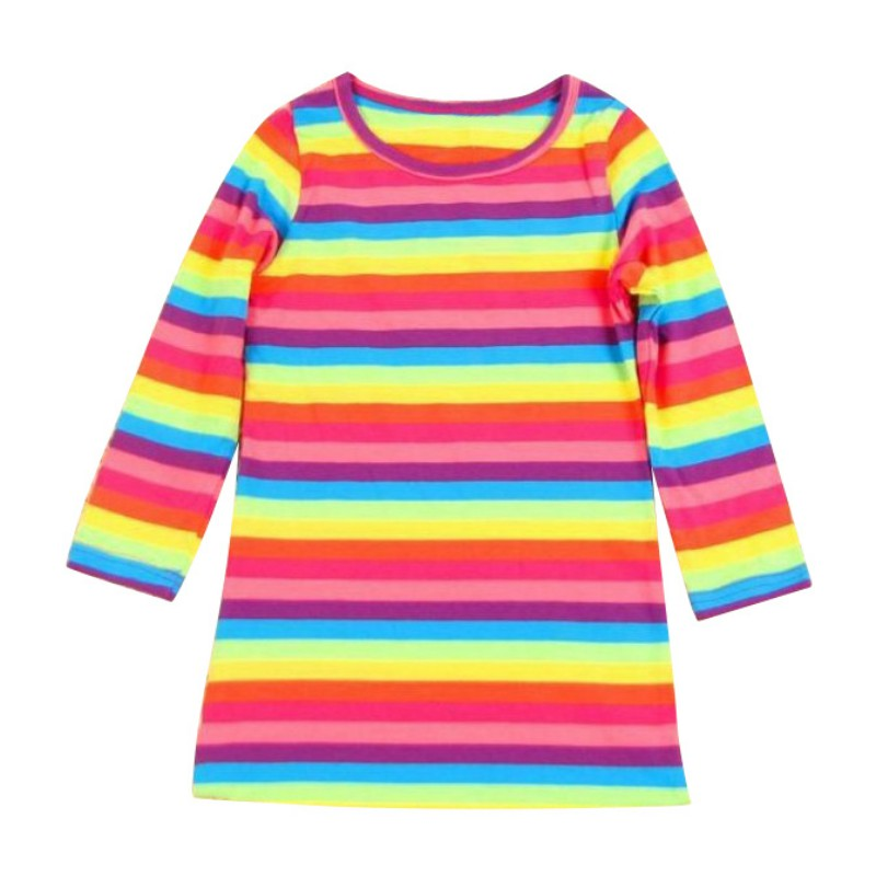 Fashion Toddler Baby Girl Kid Autumn Clothes Long Sleeve Party Striped Top T-Shirt Dress