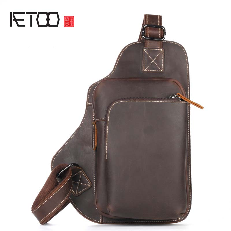 AETOO The new casual vintage crazy horse leather bag men's chest pockets of the first layer of leather oblique cross chest pack aetoo first layer of leather pockets of men bag leisure leather chest bag pockets