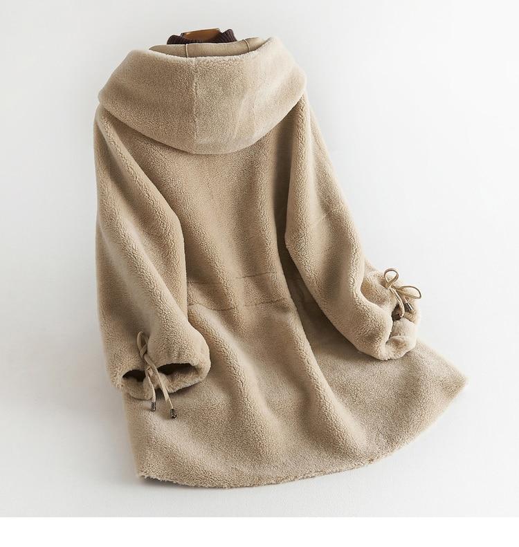Camel De Tonte black Laine Réel Oversize Naturel 2018 Épais Femmes Fourrure Streetwear Des Veste Chaud Capot D'hiver green Yh166 Manteau Moutons Light tvzW1qWHFw