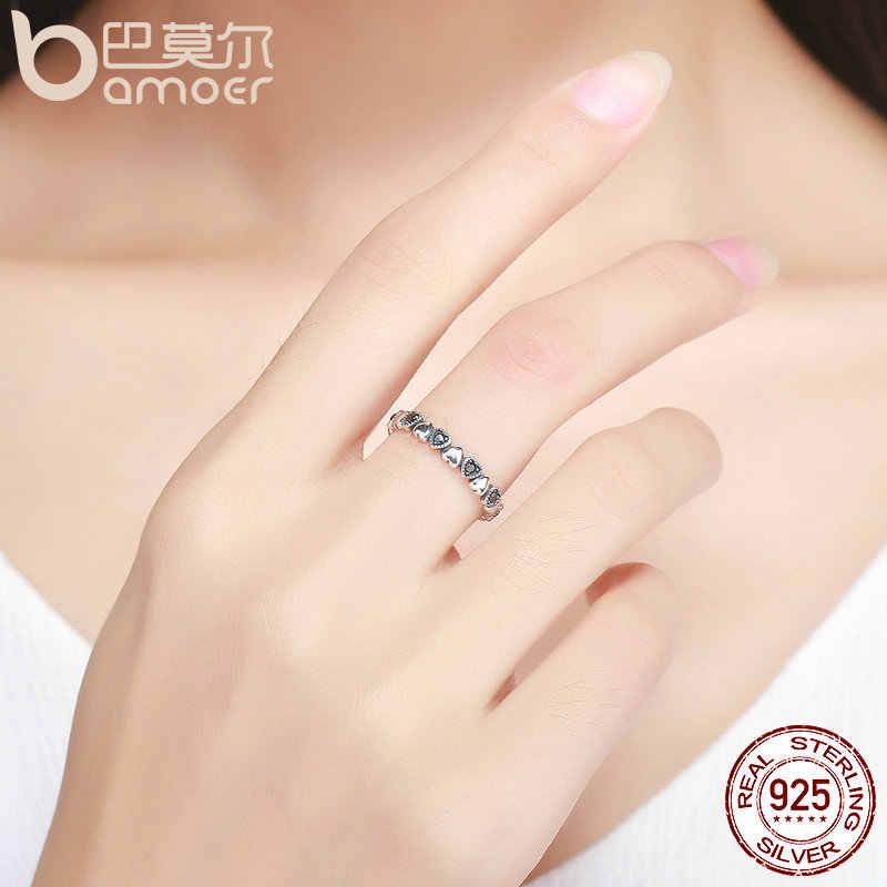 BAMOER ของแท้ 925 เงินสเตอร์ลิงแหวนหัวใจสีดำ CZ แหวนนิ้วสำหรับงานแต่งงานครบรอบเครื่องประดับ Anel SCR140